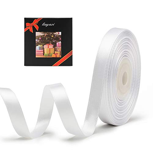 """Solid Color Double Faced White Satin Ribbon 3/8"""" X 25 Yards, Ribbons Perfect for Crafts, Wedding Decor, Bow Making, Sewing, Gift Package Wrapping and More"""