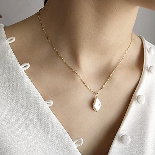 WQZYY&ASDCD Collar De Mujer Collar con Colgante De Perlas Barrocas De Plata De Ley 925 para Mujer, Simple, Todo Fósforo, Pequeño Encanto, Joyería Elegante-Big_Pearl_Necklace_45Cm