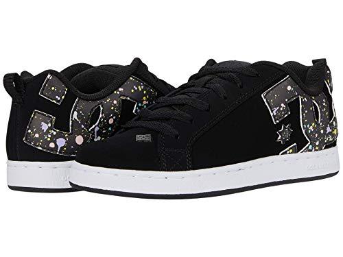 DC Women's Court Graffik Skate Shoe, Black/Splatter, 7 Medium US