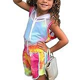 Traje de 3 piezas para niños y niñas, sin mangas, capa de malla con capucha, correa de espagueti, parte superior corta y pantalones cortos de verano