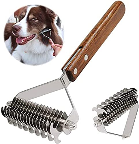 Puzzlos Professional Pet Dematting Kamm Fellpflege Abisolierwerkzeug für Hunde und Katzen (DUAL)