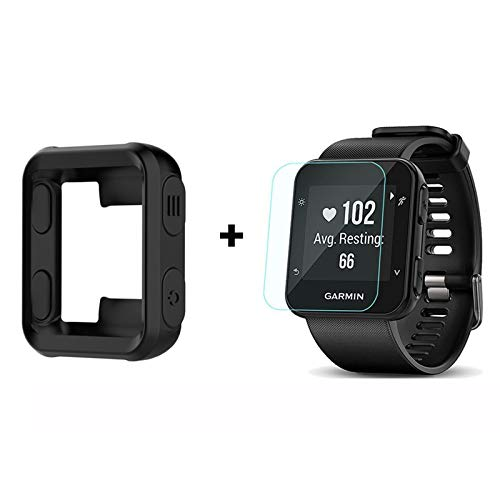 for Garmin Forerunner 35 Case, Lamshaw Silicone Case with Screen Protector (2 Pack) for Garmin Forerunner 35 Watch (Black case+ Screen Protector)