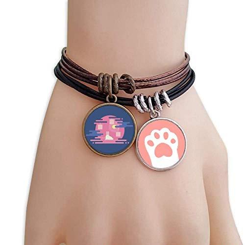 DIYthinker Damen Bunte abstrakte Wolke Laterne Muster Katzen-Armband-Leder-Seil-Armband Paar Sets