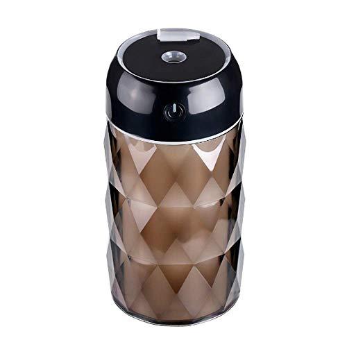 KCGNBQING Multi-Función Botella cristalina del USB humidificador del Ventilador Luz de Noche Purificación Portable Auto pulverizador Anti-Secado (Color : Black)