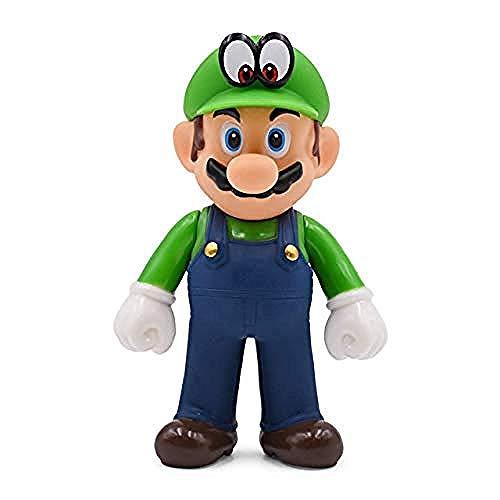 WXxiaowu 13 cm Super Mario Figuren Spielzeug Super Mario Bros Bowser Luigi Koopa Yoshi Mario Schöpfer Odyssey PVC Action Figure Puppen Modell Spielzeug Hut Weiß Luigi-Green_Hat_Eye_Luigi