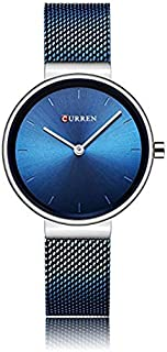 Curren 9016 Quartz Movement Round Dial Stainless Steel Strap Waterproof Women Wristwatch - Blue