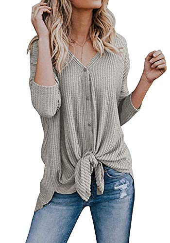 Chvity Women's V Neck Long Sleeve Button Down Front Tie Knot Tops T Shirts Blouses (XL, Oatmeal grey)