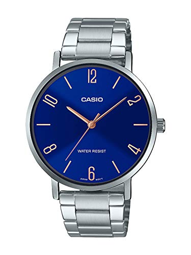 Casio MTP-VT01D-2B2 Men's Stainless Steel Minimalistic Blue Dial 3-Hand Analog Watch