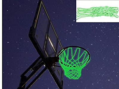 Captank Glow in The Dark Basketball Net Hoop Light Glowing Basketball Hoop Replacement Net All Weather Thick Standard Size Heavy Duty Indoor Outdoor Sports Net (Green)