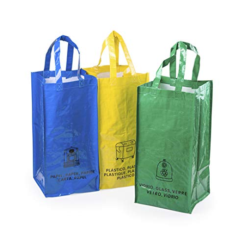 Set 3 Bolsas Reciclaje Basura Reutilizables para Papel, Vidrio y plástico Unidas Entre sí Mediante Resistentes velcros Laterales y con Asas reforzadas - 22.5 L - Ideal para Hogar/Oficina/Exterior