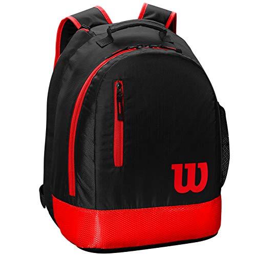 Wilson Jugend-Tennis-Rucksack, Mochila Juvenil de Tenis, 2 Compartimentos con Cremallera, hasta 2 Raquetas Unisex Niños, Negro/Rojo, 36x38x61 Centimeters (B x H x T)