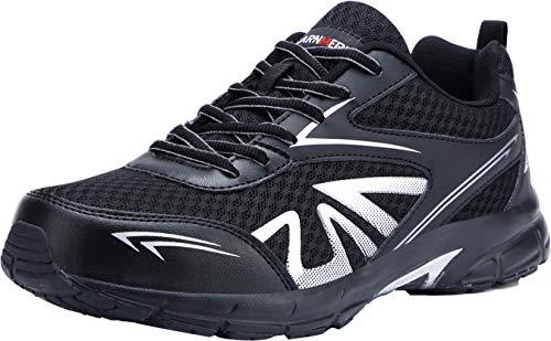 LARNMERN Scarpe Antinfortunistiche da Uomo, Punta in Acciaio Sneakers da Lavoro Leggere ed Eleganti (45 EU, Nero)