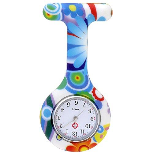 JSDDE Uhren Schwesternuhren Krankenschwesteruhr FOB-Uhr Silikon Hülle Pulsuhr Pflegeuhr Tunika Brosche Taschenuhr Ansteckuhr Analog Quarzuhr (Grün-Blau Keis)