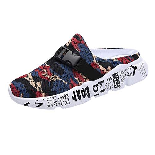 Yvelands Casual Men Mesh Zapatillas de Camuflaje Zapatillas de Playa Ligeras para Caminar Sandalias Deportivas(Rojo,39)
