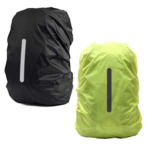 Guanici Coprizaino Impermeabile Coprizaino Antipioggia Parapioggia per Zaino con Strisce Riflettenti per attività all aperto Campeggio Escursionismo Ciclismo Viaggio 2 Pezzi (Verde,Nero; M 26L-40L)