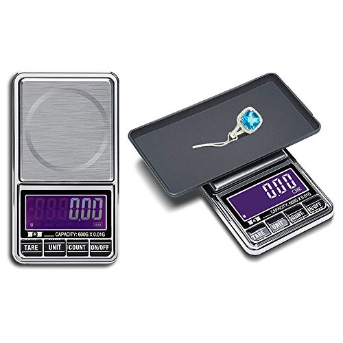Hochoice Digital Pocket Scale,100gx0.01g Weigh Gram Digital Mini Scale,High Accuracy Portable Electronic Jewelry Scale,Food/Medicine Scale,Slim Design,6 Units, LCD Display,Auto Off,Stainless Steel