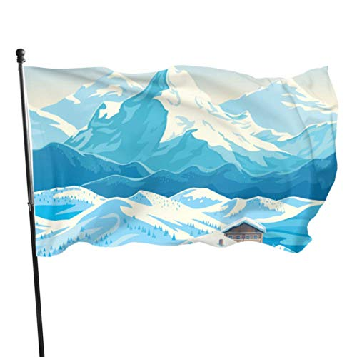 N/A Paysage de Montagne d'hiver avec des Maisons Chambre Drapeau décor décoration Murale Drapeau 3 x 5 Pieds Couleurs vibrantes qualité Polyester et œillets en Laiton