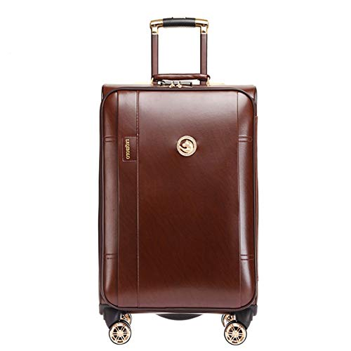 fosa1 Hand Luggage Trolley case PU Luggage Trolley Case, Universal Wheel Luggage, Password Personality Korean Zipper Suitcase Business Box, 20, 24 Inch (Color : Brown, Size : 24inch)