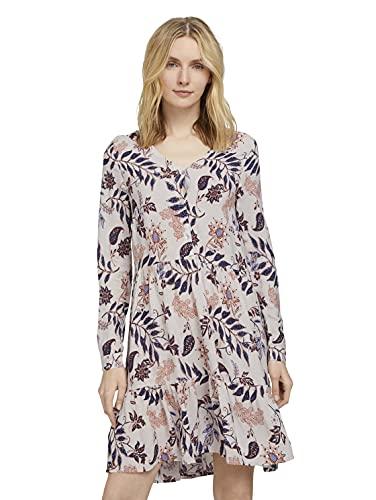 TOM TAILOR Damen 1025888 Volant Kleid, 24313-White Floral Design, 38