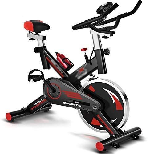 XJWWW-URG Las bicicletas de ejercicio vertical - Calidad del estudio con el monitor de ritmo cardíaco, Grande bidireccional del volante, correa de transmisión, resistencia infinita, pantallas LCD, Man