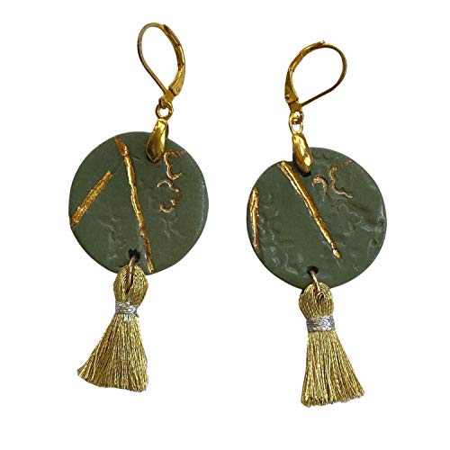 Unique Handmade Porcelain Drop Earrings Set for Women; Dangle With Liquid Gold Ornaments; Green and Gold, Design Inspired by Nature; Gift for Her Mum Sister Girls Friends