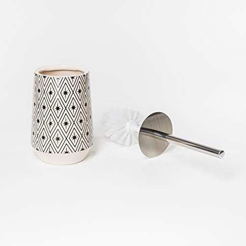 Flanacom Boho Klobürsten-Halter als Badezimmer-Deko inkl. Klobürste - aus Edelstahl und hochwertiger Keramik mit aufwendigen Verzierungen - orientalisches marokkanisches Design (Design 4)