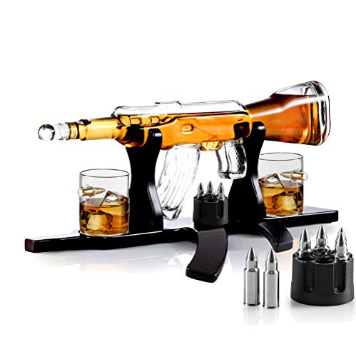 Whiskey Gun Decanter Set + 2 Whisky Bullet Glasses on Gun Shaped Rich Wood Classic Mahogany Base Tray with Bullet Chilling Stones Gift Packaging - for Liquor Scotch Bourbon - Christmas Holiday Gift