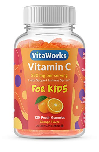 VitaWorks Vitamin C for Kids - 250mg - Great Tasting Orange Flavor Gummy - Gluten Free All Natural Vegetarian GMO-Free Chewable Vitamin C - 120 Gummies - 60 Doses