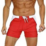 KEFITEVD Short de Bain à Séchage Rapide pour Hommes Short de Surf de Plage Été Sexy Slim Stretchy Spa Briefs Pants,Rouge,34