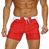 KEFITEVD Men's Quick Dry Swim Trunks Beach Surf Shorts Sexy Slim Stretchy Spa Briefs Elastic Waist Short Board Pants Red