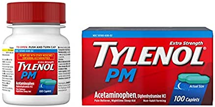 Tylenol PM Extra Strength Pain Reliever & Sleep Aid Caplets, 500 mg Acetaminophen, 100 ct