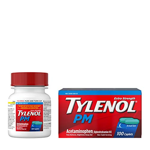 Tylenol PM Extra Strength Pain Reliever amp Sleep Aid Caplets 500 mg Acetaminophen 100 ct