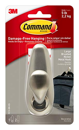 Command Metal Hook, Decorate Damage-Free, Indoor Use (FC13-BN-ES), Brushed Nickel