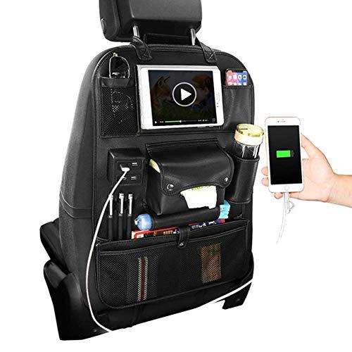 HONCENMAX Organisateur de Siège de Voiture Poche Backseat Stockage Protecteur Kick Mat Grand Accessoire de Voyage - 4 Ports USB pour l'IPad de téléphone Portable
