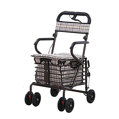 ZSLLO Senior Winkelwagen Trolley Scooter Helper Kan Zitten Duw Vouwfiets Vier Rolstoel