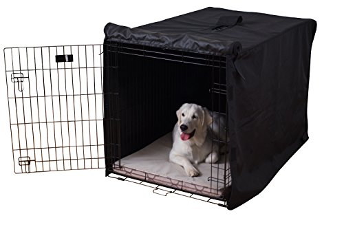 K9 Ballistics Tough Crate Cover - 48 Inch Dog Crate Cover Durable Pet Kennel Cover Universal Fit for Wire Dog Crate (Black)