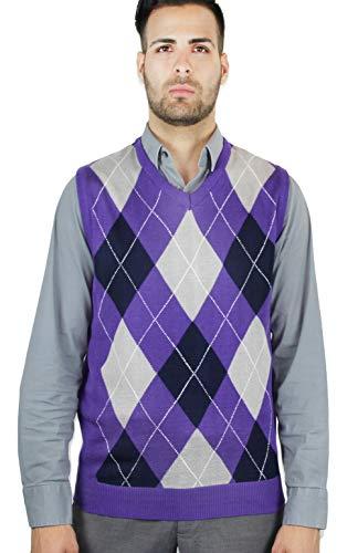 Blue Ocean Argyle Sweater Vest-X-Large Purple