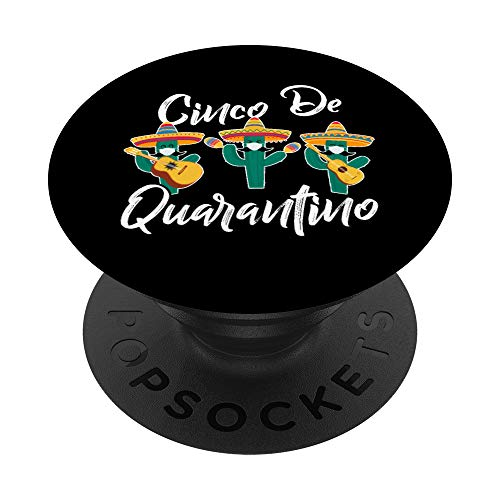Cinco De Mayo 2021 - Quarantino Cactus Mask Guitar Lover PopSockets PopGrip: Swappable Grip for Phones & Tablets