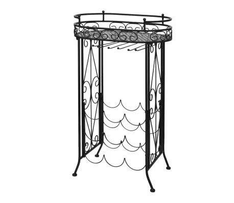 GOTOTOP - Botellero vintage de 3 niveles con soporte de vidrio para decoración del hogar, cocina, 46 x 28,5 x 77,5 cm, color negro