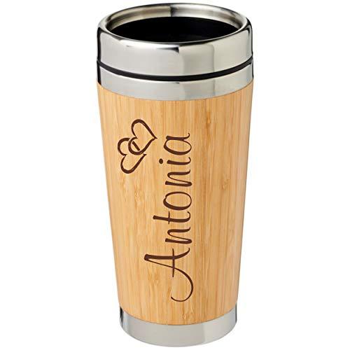 Schmalz® Isolierbecher Castries aus Bambus inkl. Gravur graviert, nachhaltig Holz Thermobecher mit Deckel Trinköffnung Bambus Edelstahl