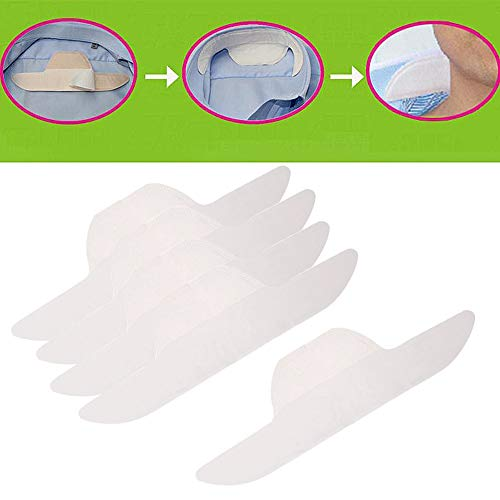 Adecco LLC 20 PCS Disposable Neck Collar Sweat Pads, Collar Shirt Protector, Absorbent Collar Liners Pads, Invisible protection against Sweat & Stain for Women and Men