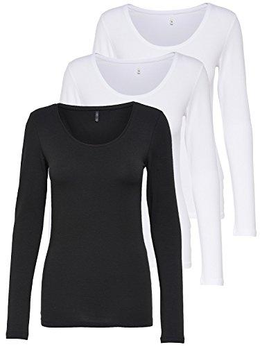 ONLY 3er Pack Damen Langarmshirt schwarz und weiß Langarm Basic Longsleeve Sommer aus 95% Baumwolle XS S M L XL 15209156 (3er Pack Farb Mix 2, XL)
