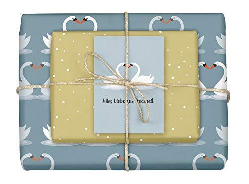Geschenkpapier-Set: Hochzeit: 4x Einzelbögen + 1x Postkarte