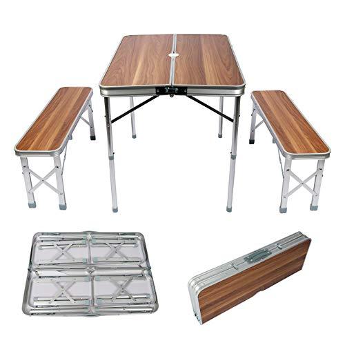 WilTec Mesa Maleta Camping Picknick con 2 Bancos 90x66x70cm Plegable Aluminio Efecto...