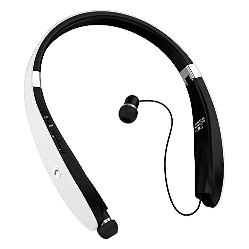 Bluetooth Headphones, Bluetooth Headset Foldable Neckband Wireless Headset with Retractable Earbuds, Bluetooth V4.1, 16 Hours Playtime, Sports Sweatproof Noise Cancelling Earphones with Mic (White)