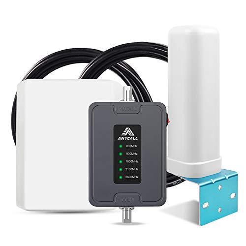 ANYCALL Amplificador Cobertura Movil 2G/3G/4G 5-Banda Repetidor Señal Movil 800/900/1800/2100/2600MHz Mejorar la Red y Llamar para Coche/Carro/RV/SUV Vehículos - Admite Múltiples Usuarios