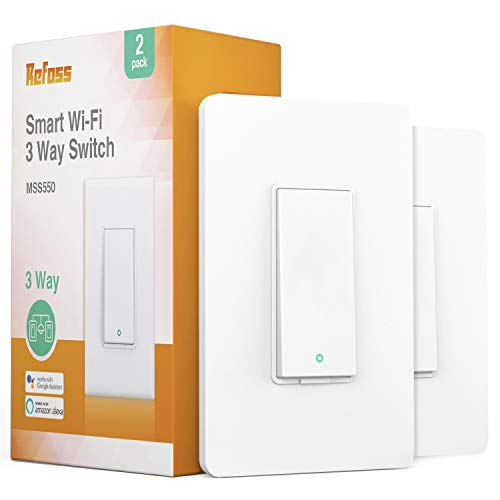 Refoss Smart Light 3-Way Switch, Wi-Fi Light Switch Compatible with Amazon Alexa and Google Home Assistant,Voice Control, Remote Control, Timing Schedule, No Hub Required - 2 Pack