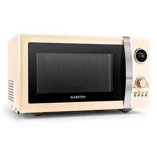 Klarstein Fine Dinesty microondas 2en1 - microondas con parrilla, 23 l cámara de cocción, 800 W de microondas, 1000 W de parrilla, 12 programas y 3 para descongelar, pantalla LCD, crema