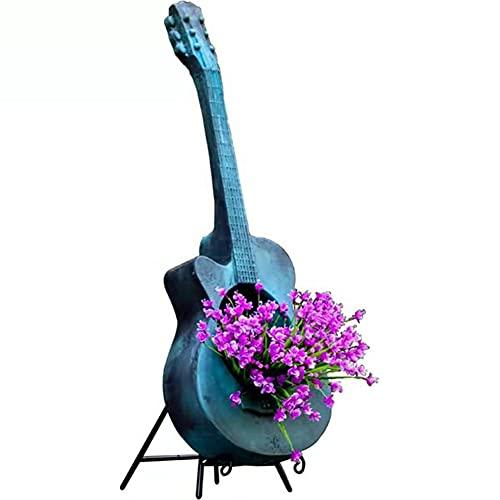 LSXIAO Soporte De Maceta De Guitarra con Soporte De Hierro, Retro Decoración De Jardín De Esculturas, Apertura Redonda para Patios, Diseños De Parques, Cafés, Fondos De Boda
