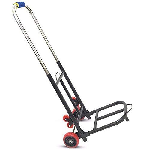 GPWDSN Bolsas de hierro plegables con ruedas de goma antipinchazos y capacidad de 150 kg, carrito de la compra plegable negro para vacaciones, deportes, compras